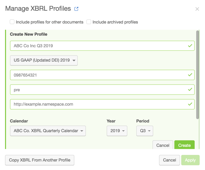 Create an XBRL profile