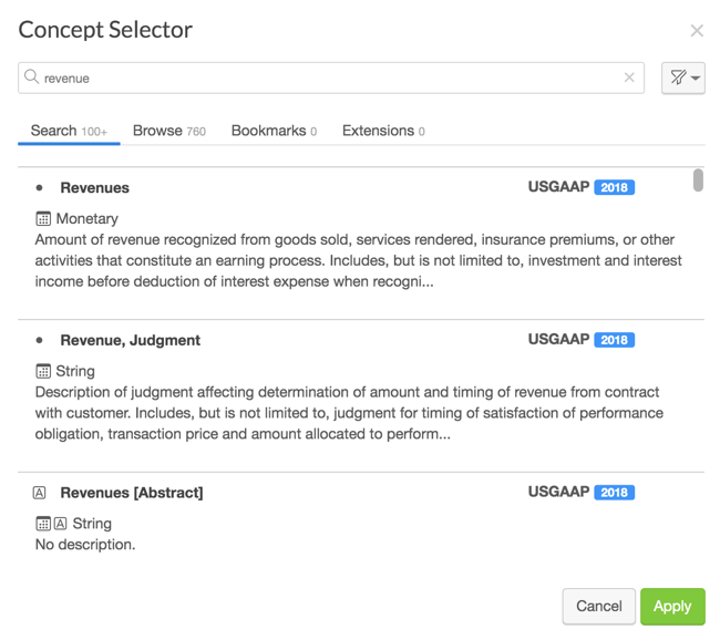Select an XBRL concept in Wdesk