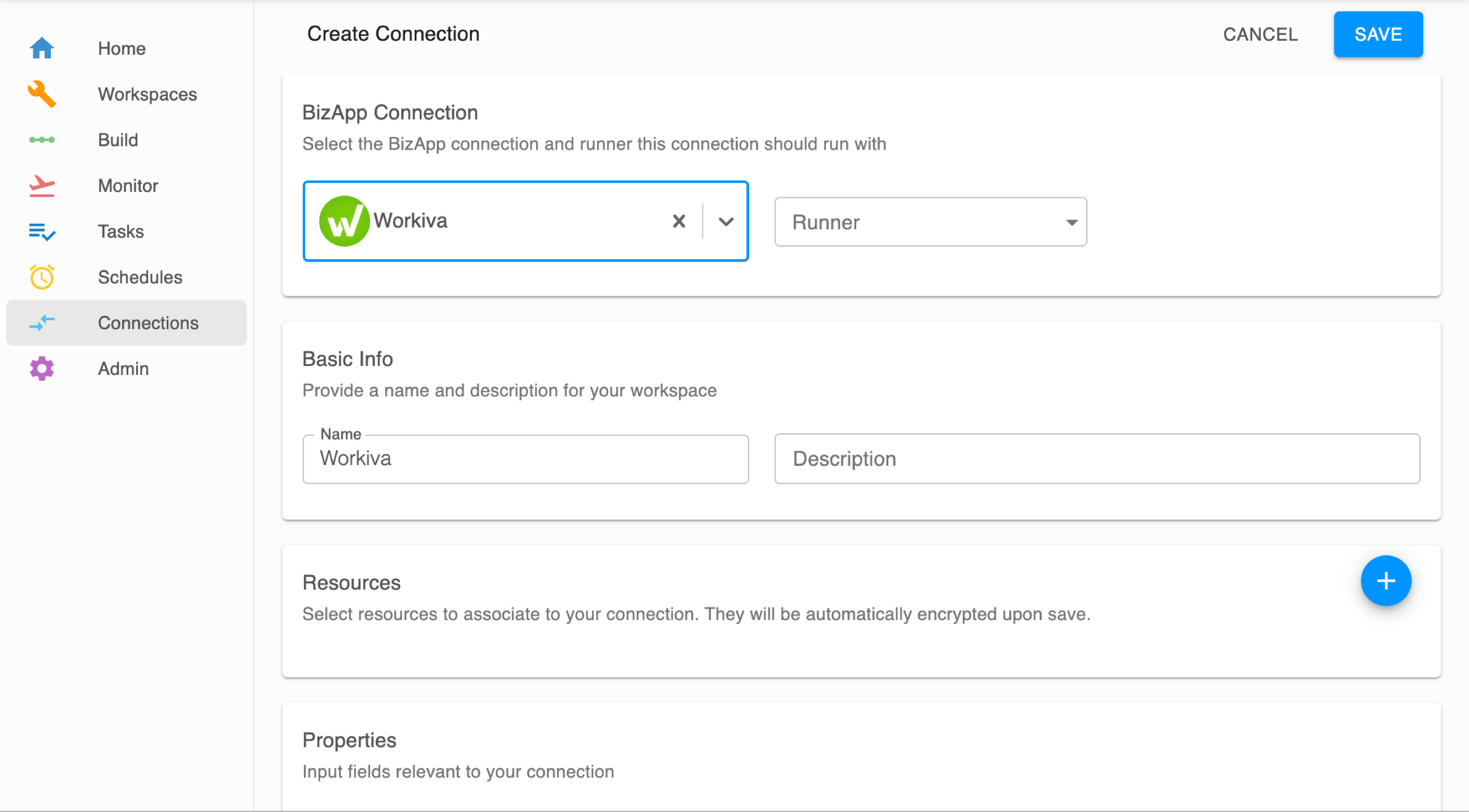 Create Connection with Workiva BizApp connection