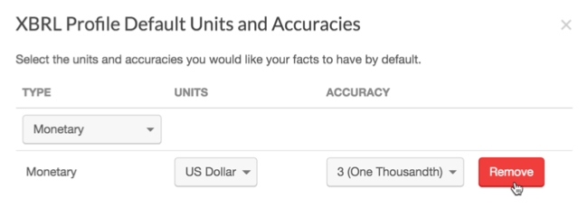 Changing or removing default units and accuracies