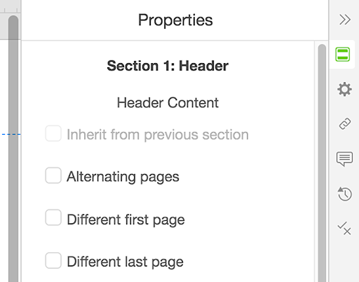 Header properties menu