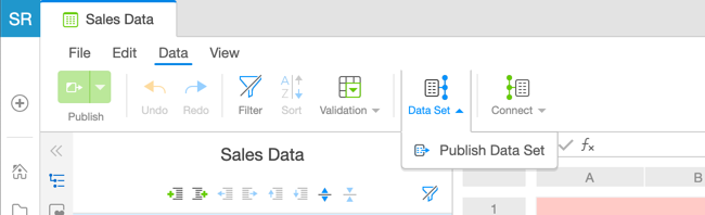 Publish Data Set Dropdown