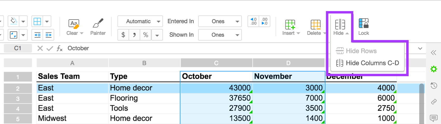 hide rows and columns in spreadsheets