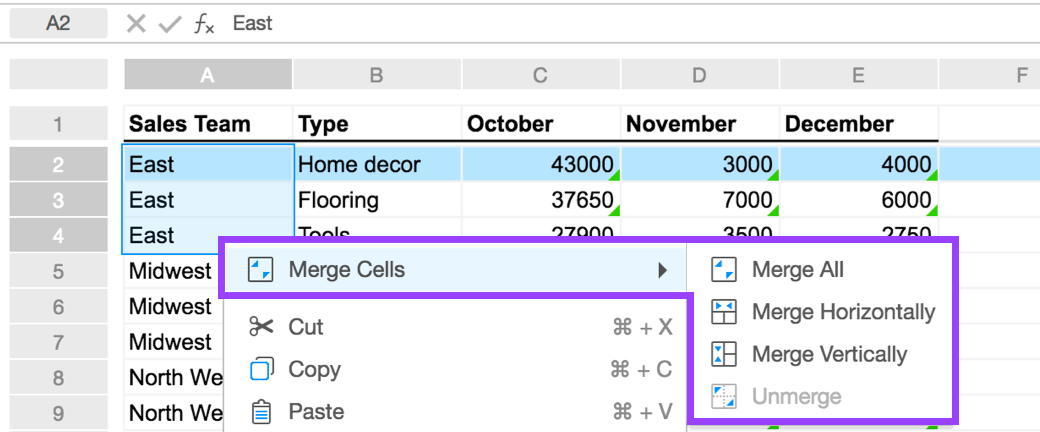 merging cells in spreadsheets