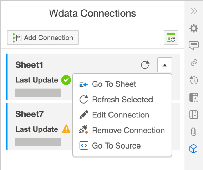 Wdata Connections sheet menu