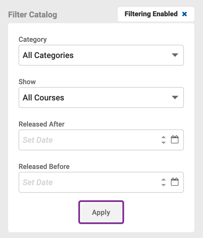 Filter Courses