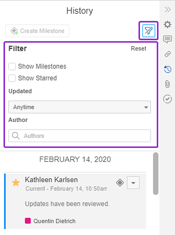 filter revisions in presentations
