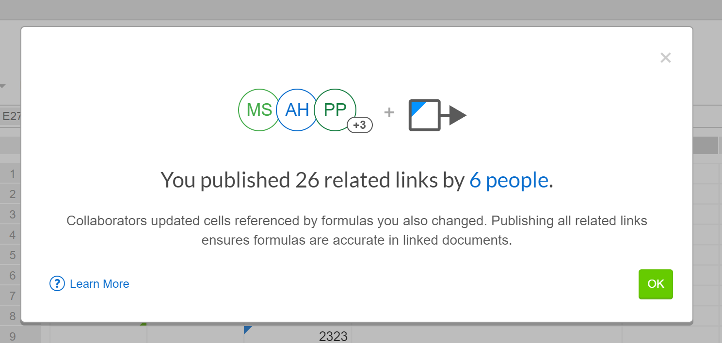 Publish all links notification