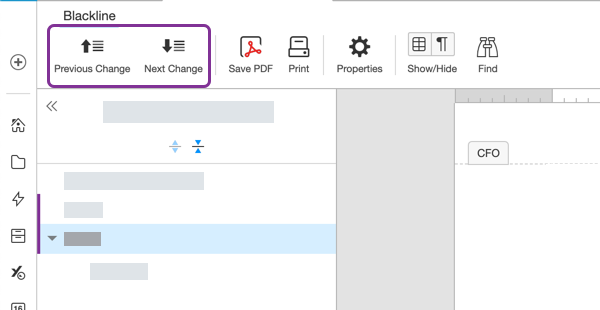 Move between changes using the toolbar