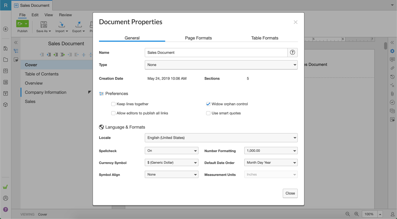 General document properties