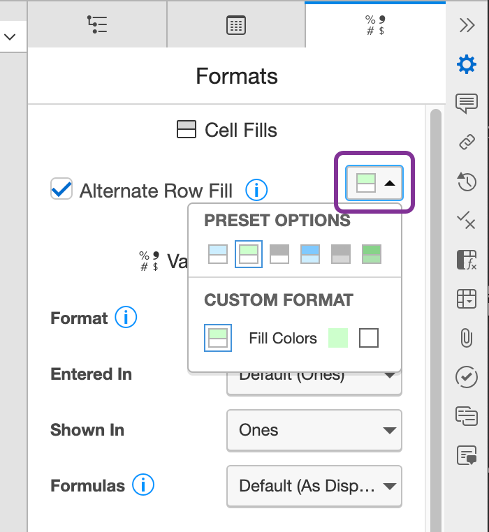 select alternate row fill colors