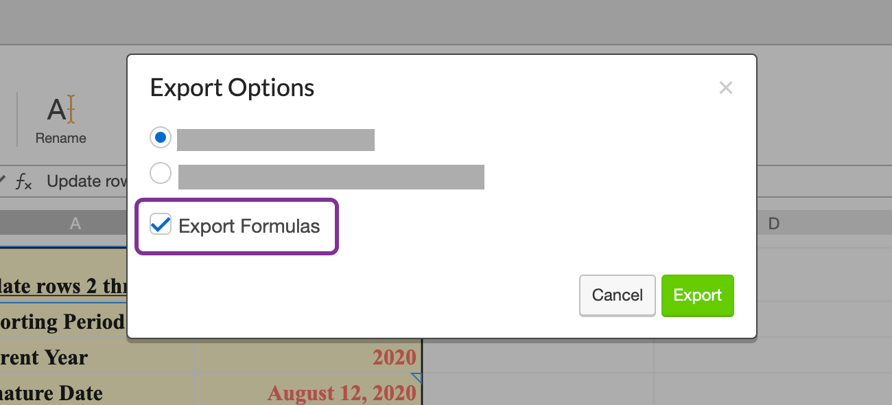 select to export formulas