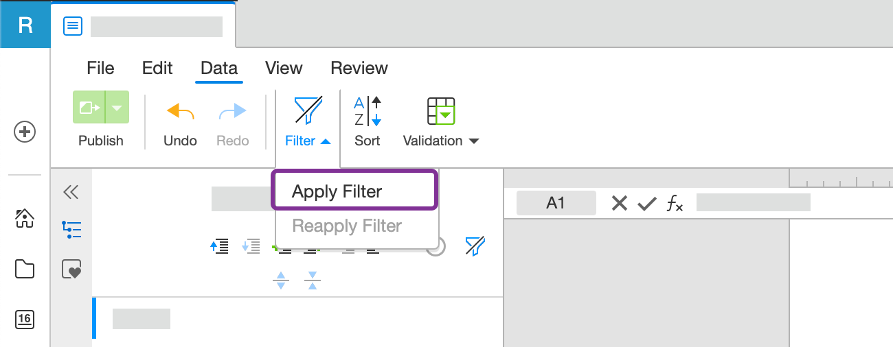 Select Apply filter from toolbar