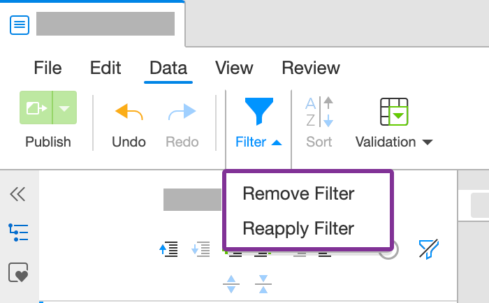 Remove or reapply filter