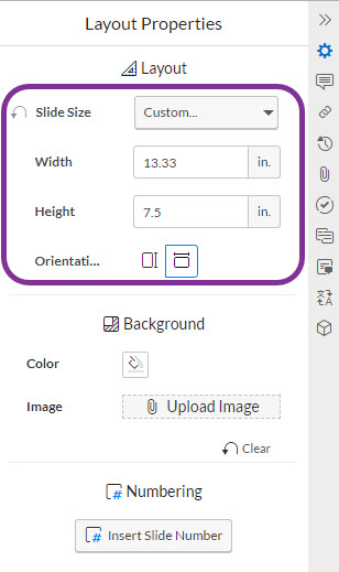 changing slide dimensions