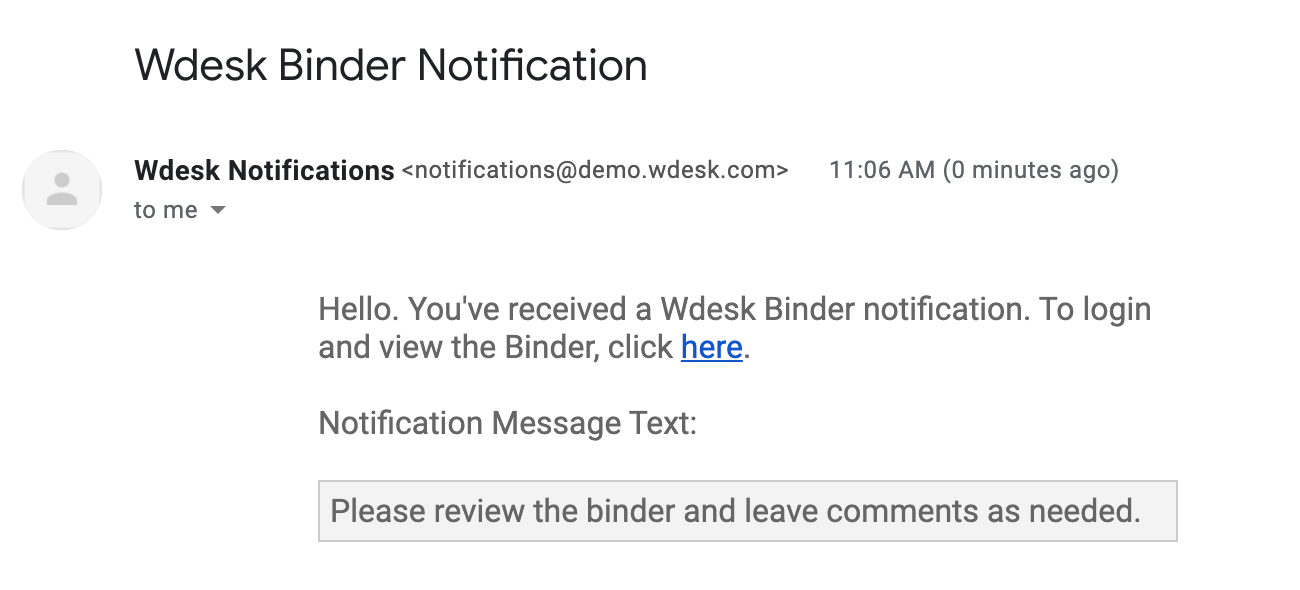 Example email notification