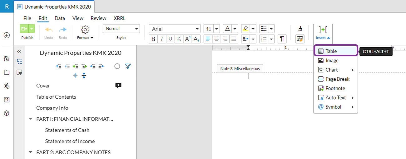 insert a table into a document