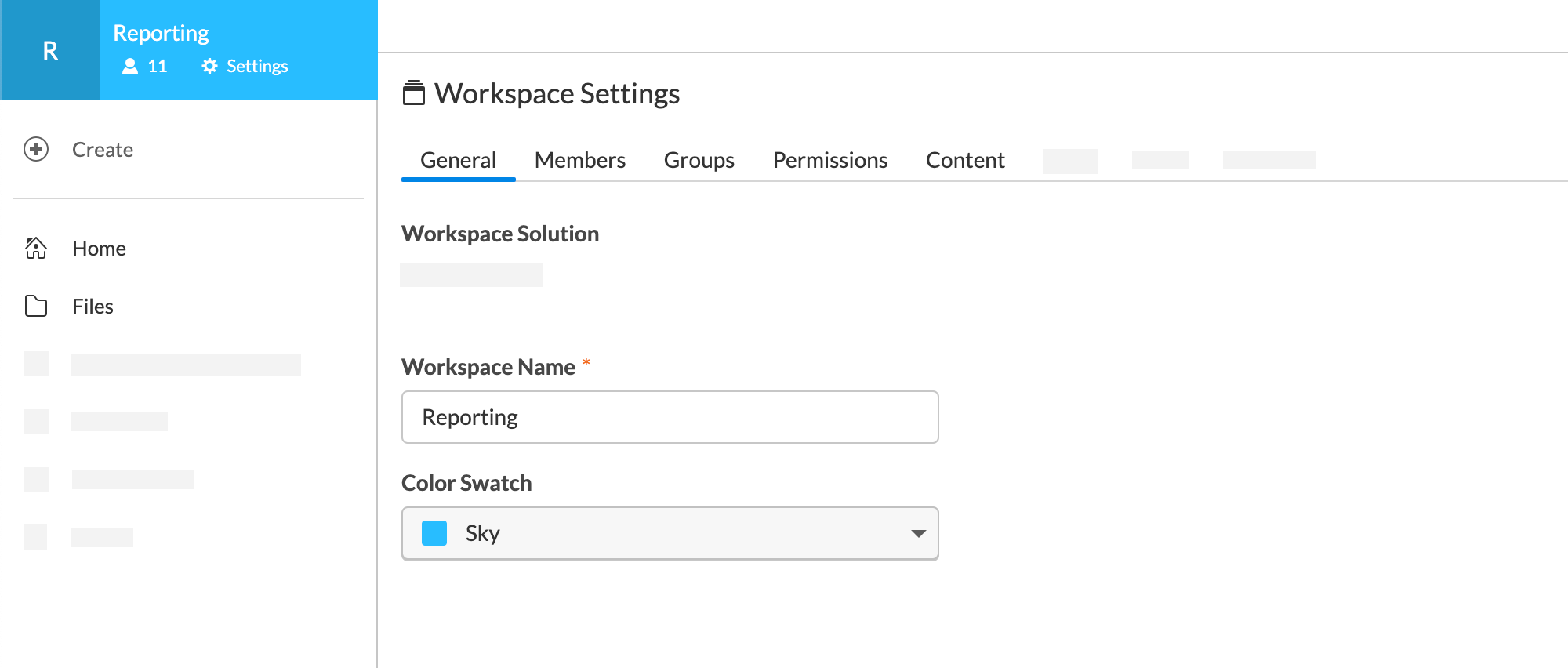 Workspae Settings