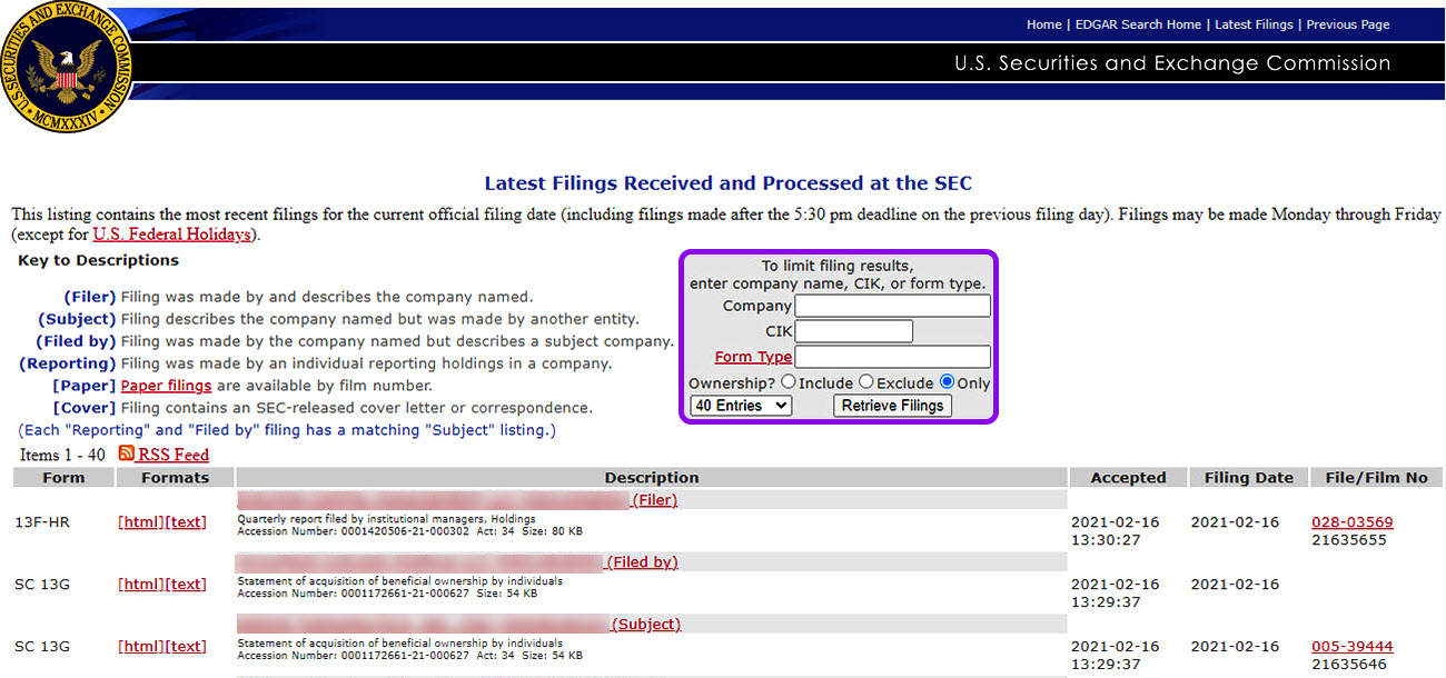 filter filings on the SEC website