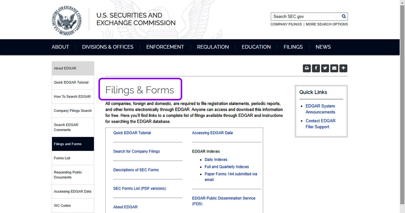 download forms filed with the SEC