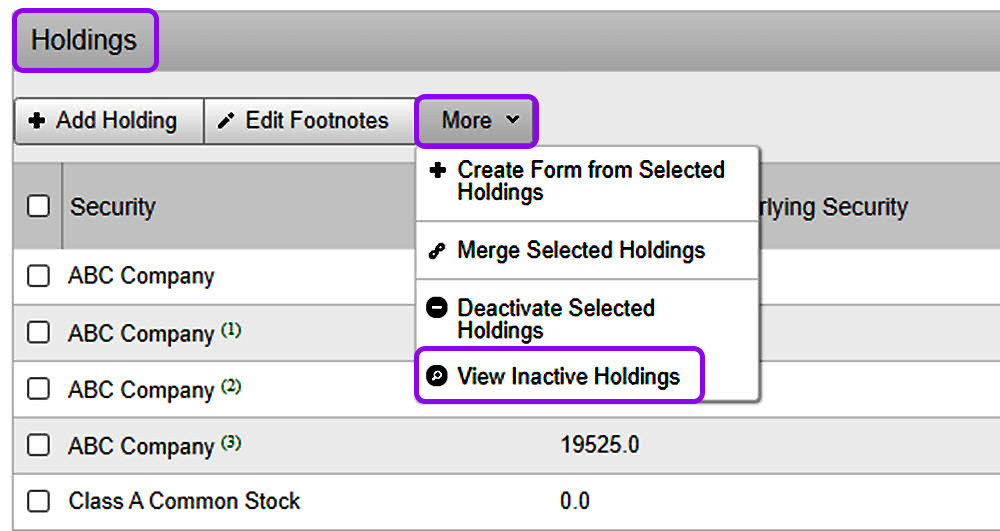 view inactive holdings for a reporting owner