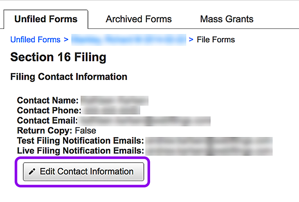 notifications for filing forms