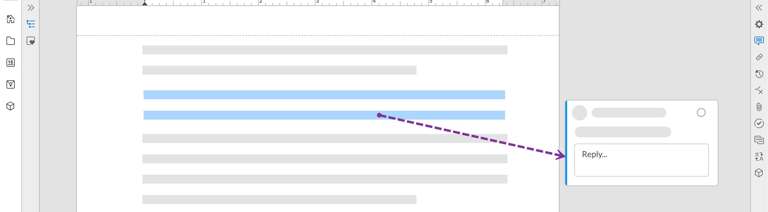 藍色醒目提式和線條表示註釋與所選的選取內容相關