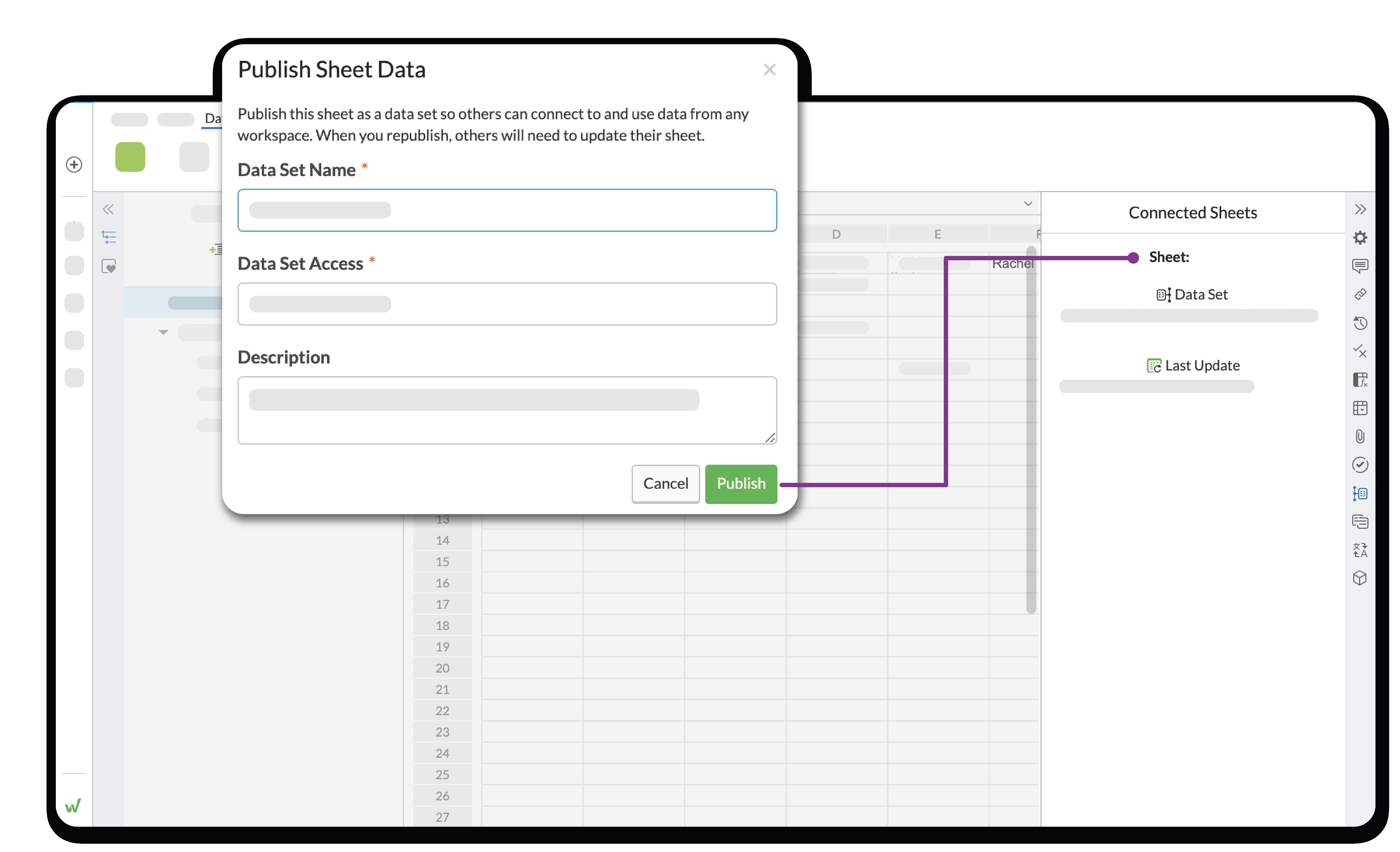 다른 사용자가 정보를 새 파일로 가져올 수 있도록 하려면 데이터 세트를 만듭니다.