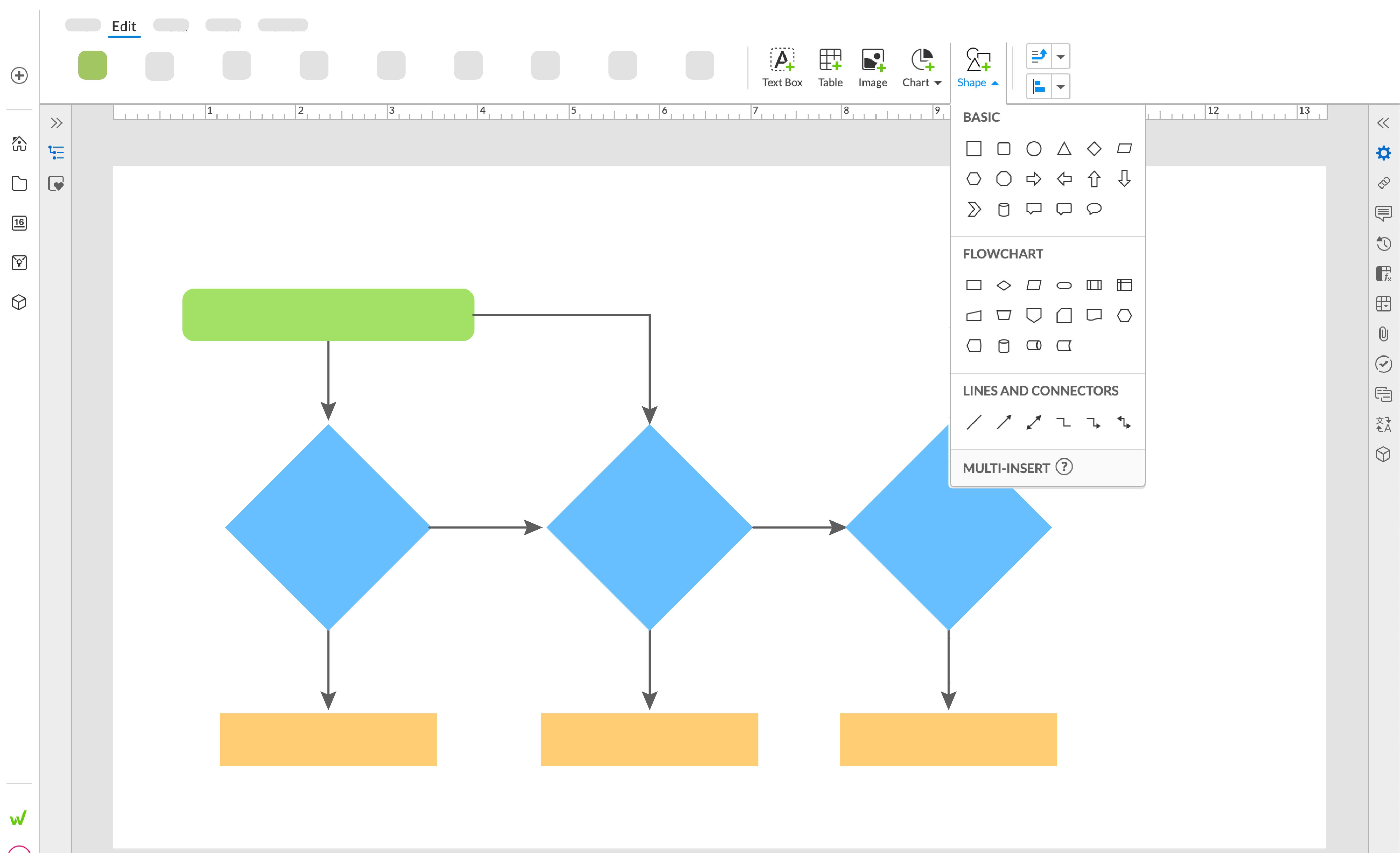 図形とコネクタを使用して、スライドにフローチャートを作成します