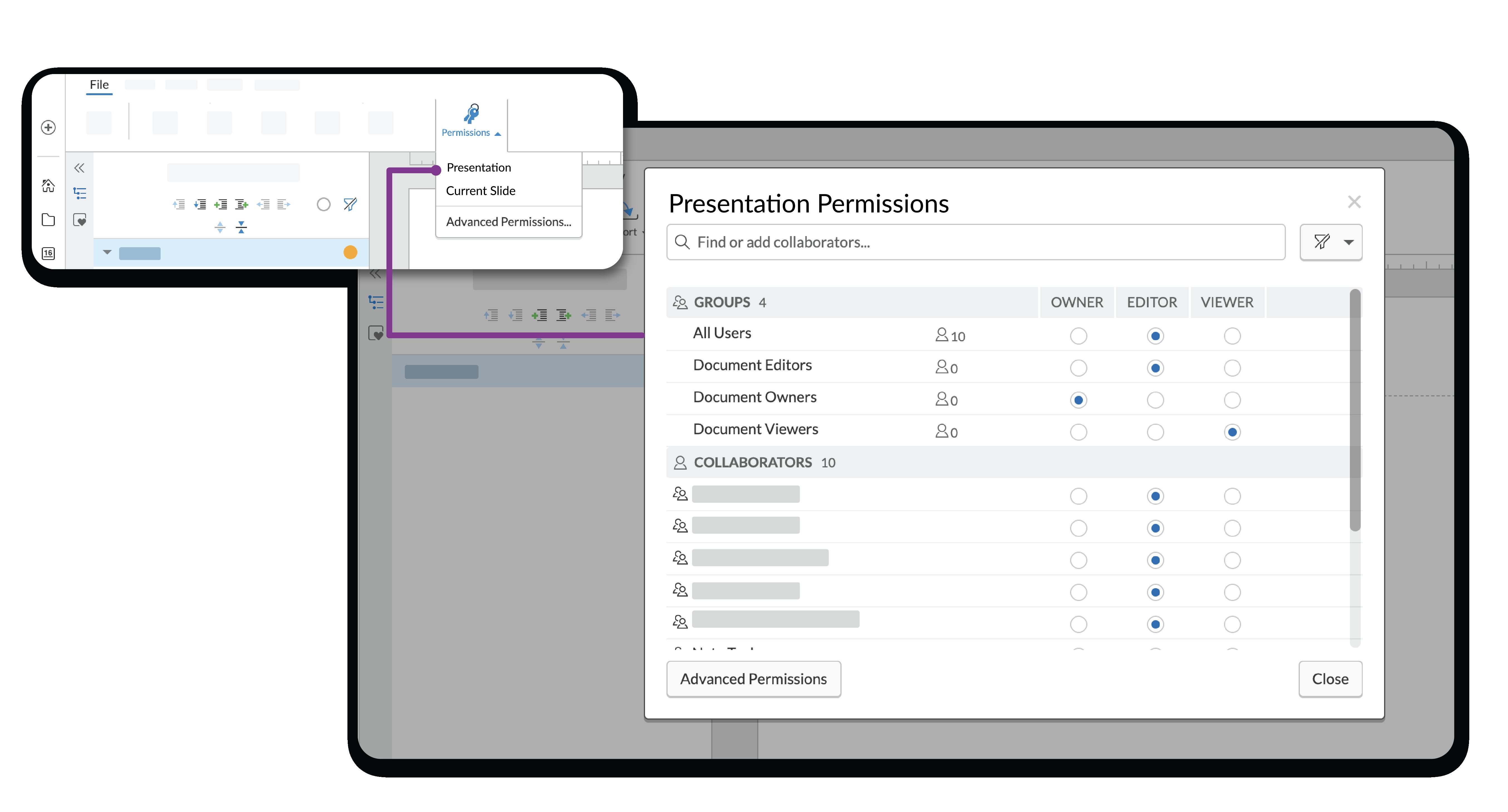 権限ウィンドウを使い、ユーザーまたはグループに特定のアクセス権限を付与します