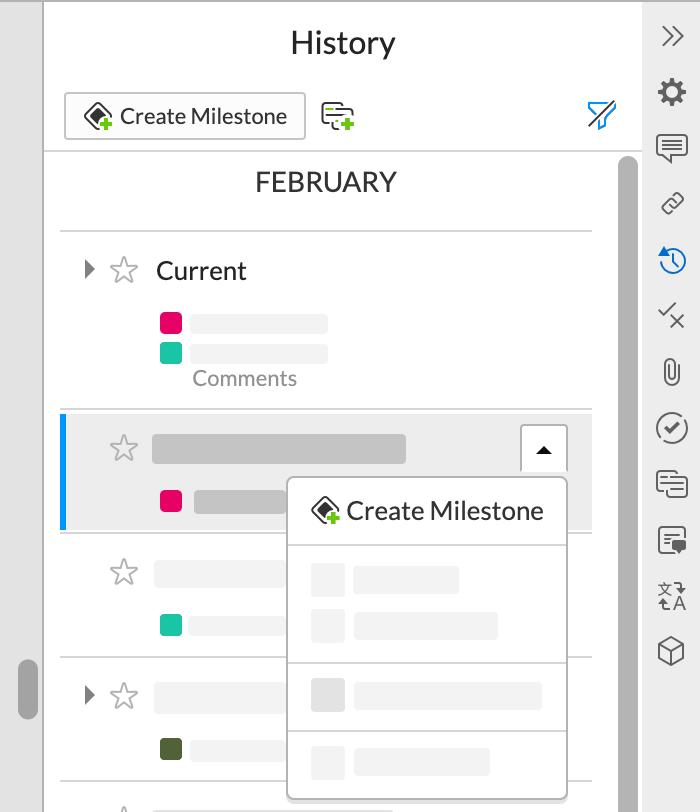 履歴パネルには、変更が加えられた日時、および変更を加えたユーザーが一覧表示されます