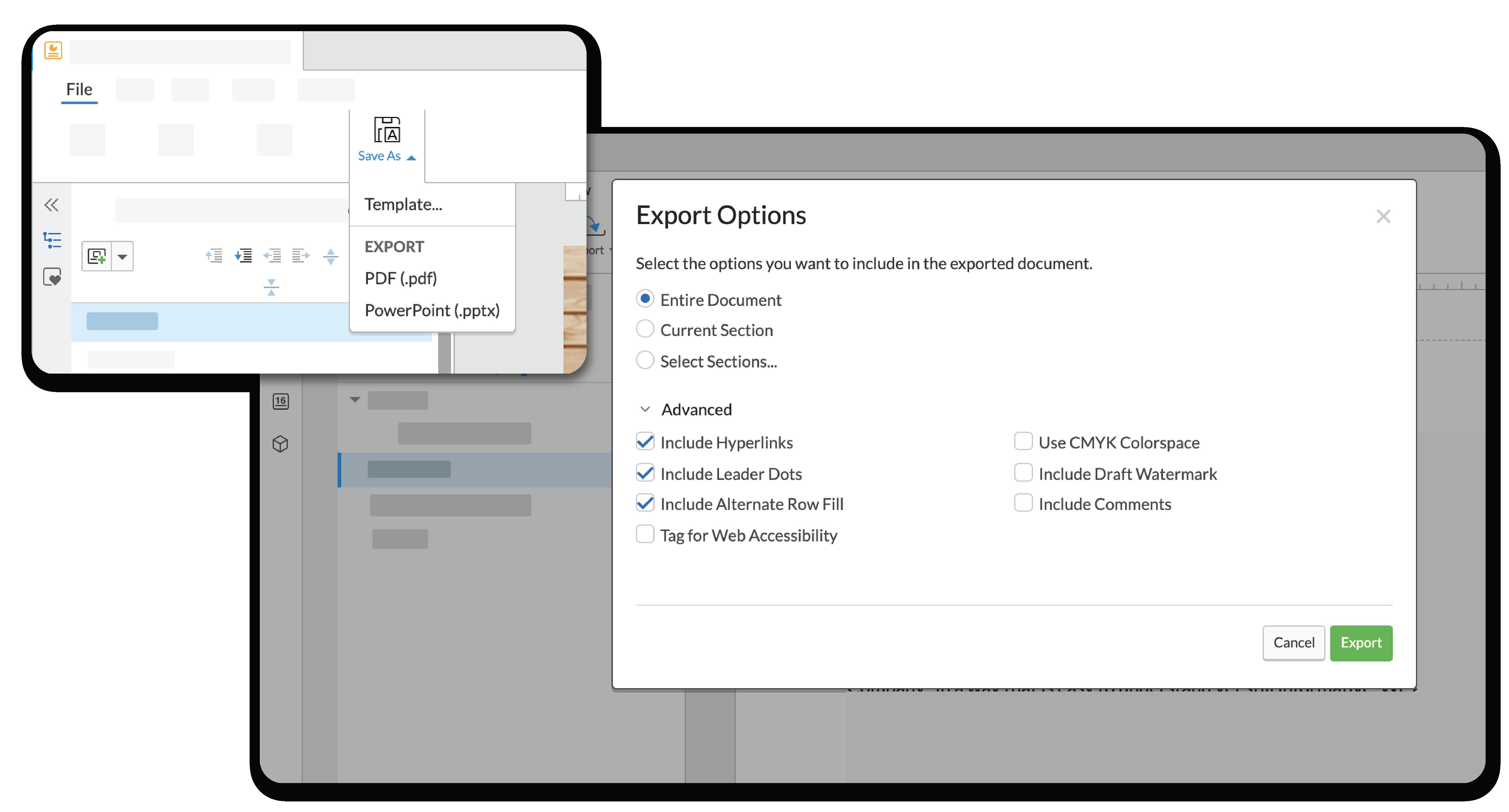 エクスポートオプションを使い、プレゼンテーションを powerpoint または PDF としてエクスポートします