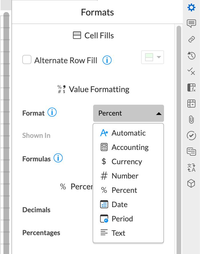 서식 패널 드롭 다운을 사용하면 다른 셀에서 데이터 서식이 지정되는 방식을 변경할 수 있습니다.