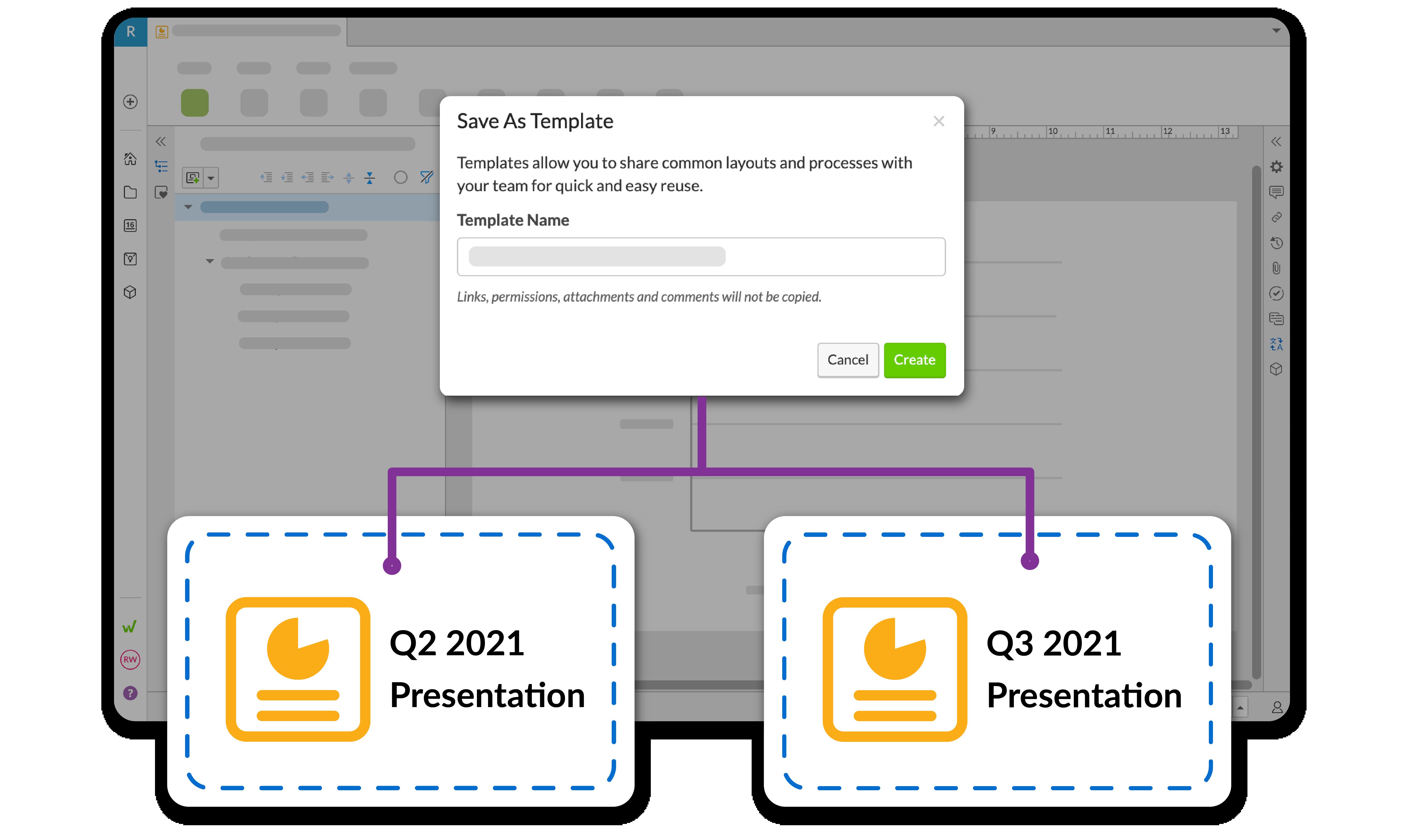 テンプレートは、すべてのデザインとコンテンツをファイルから再利用可能なプレゼンテーションベースへコピーします
