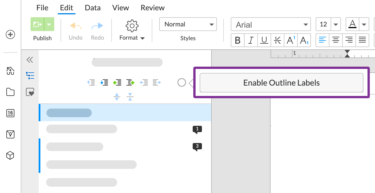 click enable to add the default label set to your document