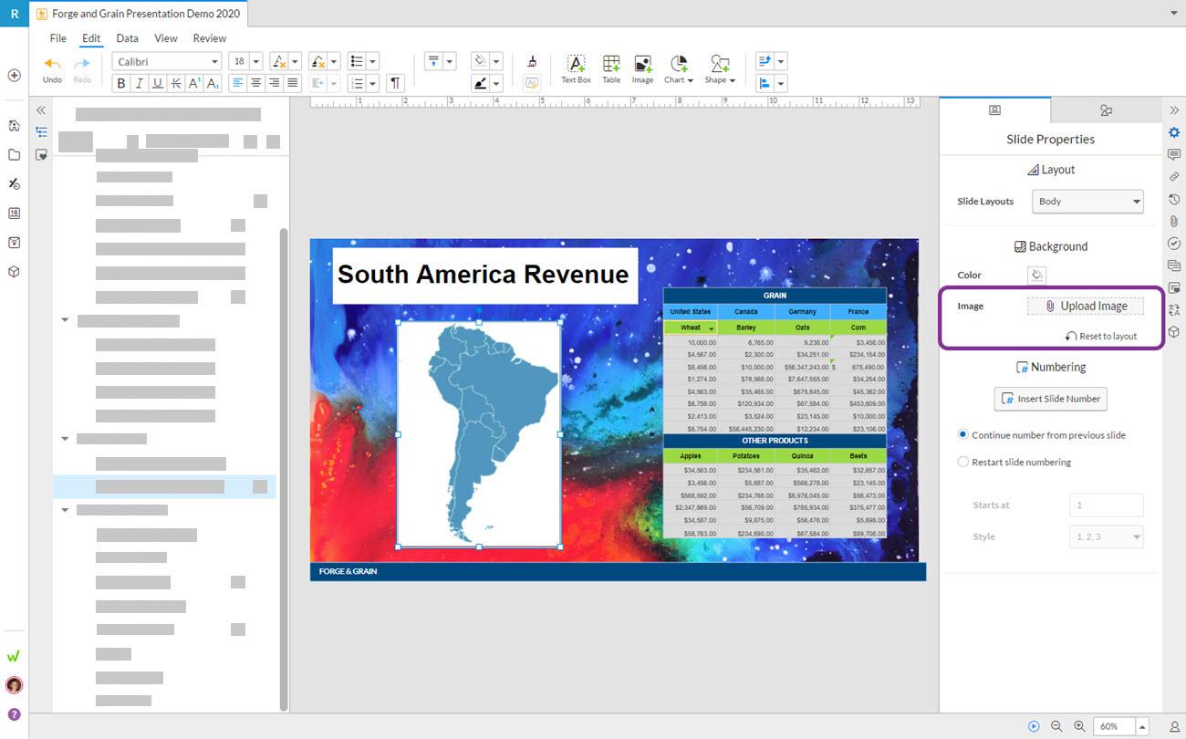 Workiva 슬라이드의 배경 이미지