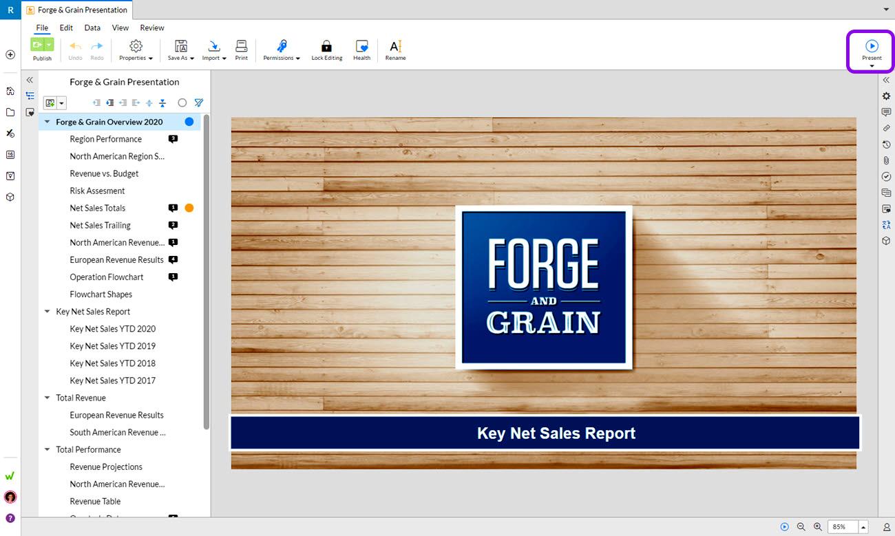 Workivaでスライドを提示する