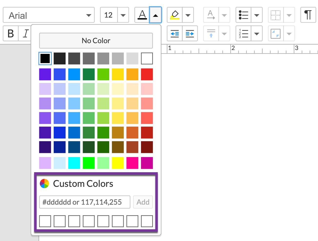 사용자 지정 색상 드롭다운