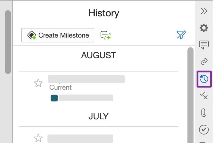 기록 패널은 날짜 및 시간별로 그룹화된 개정을 보여줍니다.